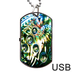 Dark Abstract Bubbles Dog Tag USB Flash (One Side)