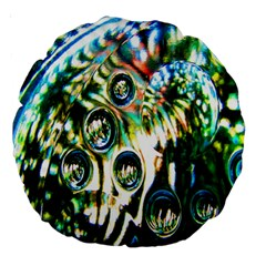 Dark Abstract Bubbles Large 18  Premium Round Cushions