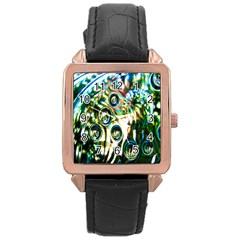 Dark Abstract Bubbles Rose Gold Leather Watch
