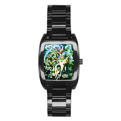 Dark Abstract Bubbles Stainless Steel Barrel Watch