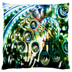 Dark Abstract Bubbles Large Flano Cushion Case (One Side)