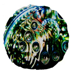 Dark Abstract Bubbles Large 18  Premium Flano Round Cushions