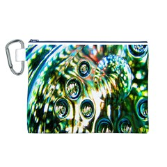 Dark Abstract Bubbles Canvas Cosmetic Bag (L)