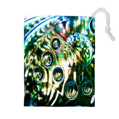 Dark Abstract Bubbles Drawstring Pouches (Extra Large)