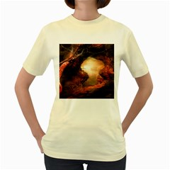 3d Illustration Of A Mysterious Place Women s Yellow T-Shirt