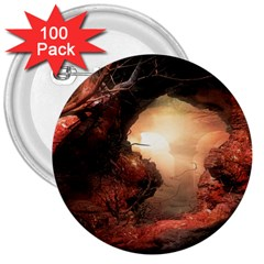 3d Illustration Of A Mysterious Place 3  Buttons (100 pack)