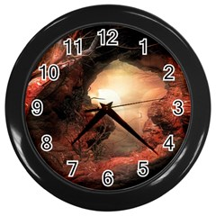 3d Illustration Of A Mysterious Place Wall Clocks (Black)