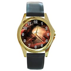 3d Illustration Of A Mysterious Place Round Gold Metal Watch