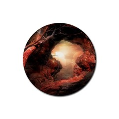 3d Illustration Of A Mysterious Place Rubber Round Coaster (4 pack)