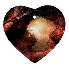 3d Illustration Of A Mysterious Place Heart Ornament (two Sides)