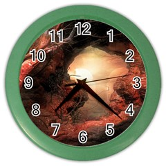 3d Illustration Of A Mysterious Place Color Wall Clocks