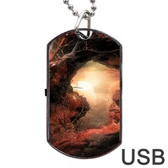 3d Illustration Of A Mysterious Place Dog Tag USB Flash (One Side)