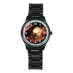 3d Illustration Of A Mysterious Place Stainless Steel Round Watch