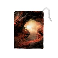 3d Illustration Of A Mysterious Place Drawstring Pouches (Medium)