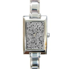 Metal Background With Round Holes Rectangle Italian Charm Watch