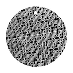Metal Background With Round Holes Ornament (Round)