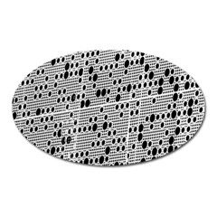 Metal Background With Round Holes Oval Magnet