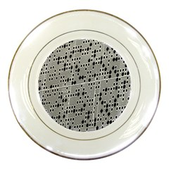 Metal Background With Round Holes Porcelain Plates