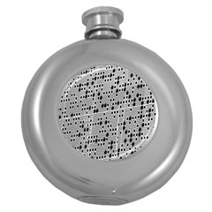 Metal Background With Round Holes Round Hip Flask (5 oz)