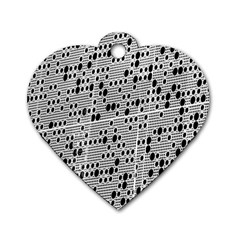 Metal Background With Round Holes Dog Tag Heart (Two Sides)