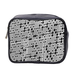 Metal Background With Round Holes Mini Toiletries Bag 2 Side