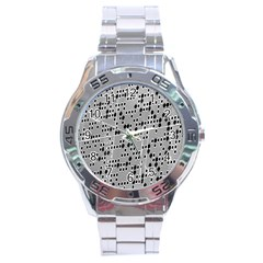 Metal Background With Round Holes Stainless Steel Analogue Watch