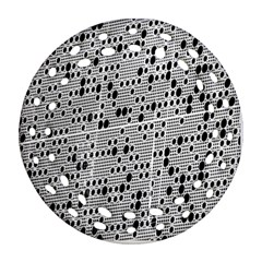 Metal Background With Round Holes Round Filigree Ornament (Two Sides)