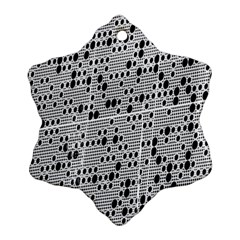 Metal Background With Round Holes Snowflake Ornament (Two Sides)