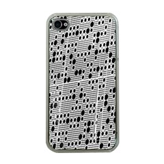 Metal Background With Round Holes Apple iPhone 4 Case (Clear)
