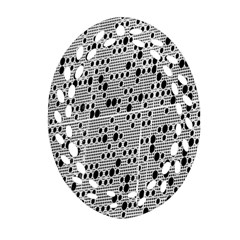 Metal Background With Round Holes Oval Filigree Ornament (Two Sides)