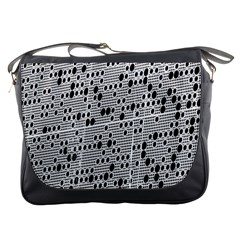 Metal Background With Round Holes Messenger Bags