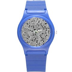Metal Background With Round Holes Round Plastic Sport Watch (S)