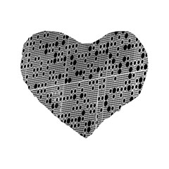 Metal Background With Round Holes Standard 16  Premium Heart Shape Cushions