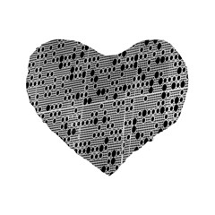 Metal Background With Round Holes Standard 16  Premium Flano Heart Shape Cushions