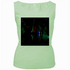 Illuminated Trees At Night Near Lake Women s Green Tank Top