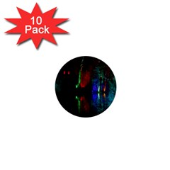 Illuminated Trees At Night Near Lake 1  Mini Buttons (10 Pack)