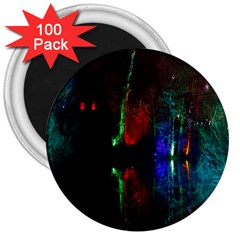 Illuminated Trees At Night Near Lake 3  Magnets (100 pack)