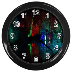 Illuminated Trees At Night Near Lake Wall Clocks (black)