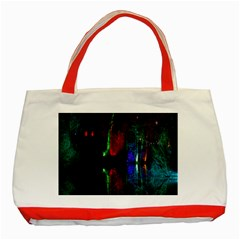 Illuminated Trees At Night Near Lake Classic Tote Bag (red)