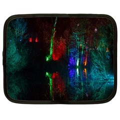 Illuminated Trees At Night Near Lake Netbook Case (Large)