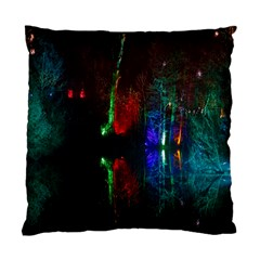 Illuminated Trees At Night Near Lake Standard Cushion Case (Two Sides)