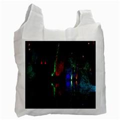 Illuminated Trees At Night Near Lake Recycle Bag (One Side)