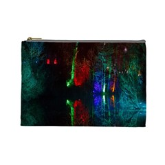 Illuminated Trees At Night Near Lake Cosmetic Bag (Large)