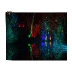 Illuminated Trees At Night Near Lake Cosmetic Bag (XL)