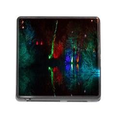 Illuminated Trees At Night Near Lake Memory Card Reader (Square)