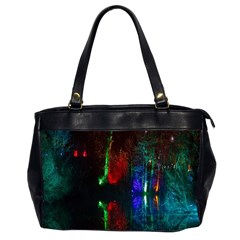 Illuminated Trees At Night Near Lake Office Handbags (2 Sides)