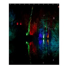 Illuminated Trees At Night Near Lake Shower Curtain 60  x 72  (Medium)