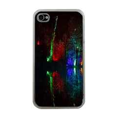 Illuminated Trees At Night Near Lake Apple Iphone 4 Case (clear)
