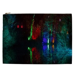 Illuminated Trees At Night Near Lake Cosmetic Bag (XXL)