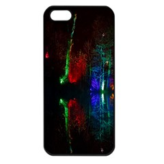 Illuminated Trees At Night Near Lake Apple Iphone 5 Seamless Case (black)